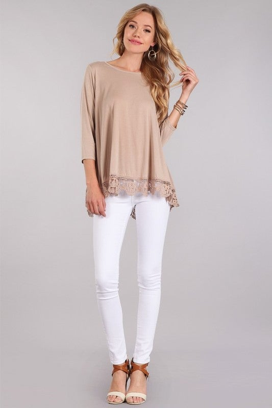 Image of Flowy Lace Bottom Top, S-L