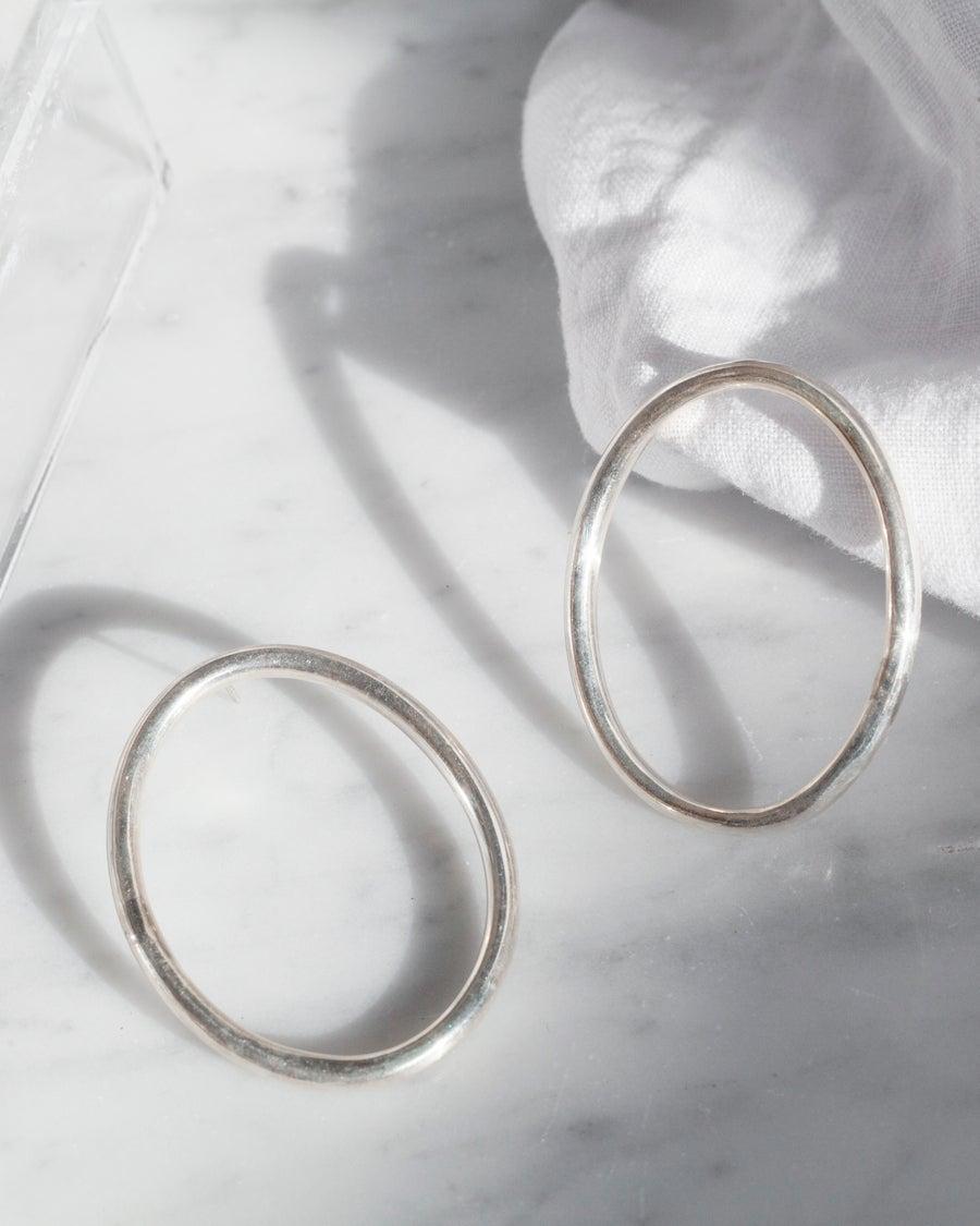 Image of Sterling Silver Oval Hoop Earrings