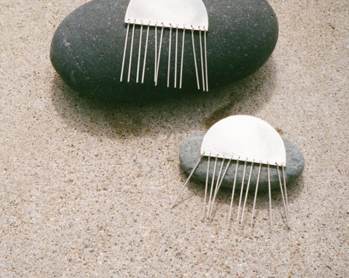 Image of Half Moon Tassel Earrings