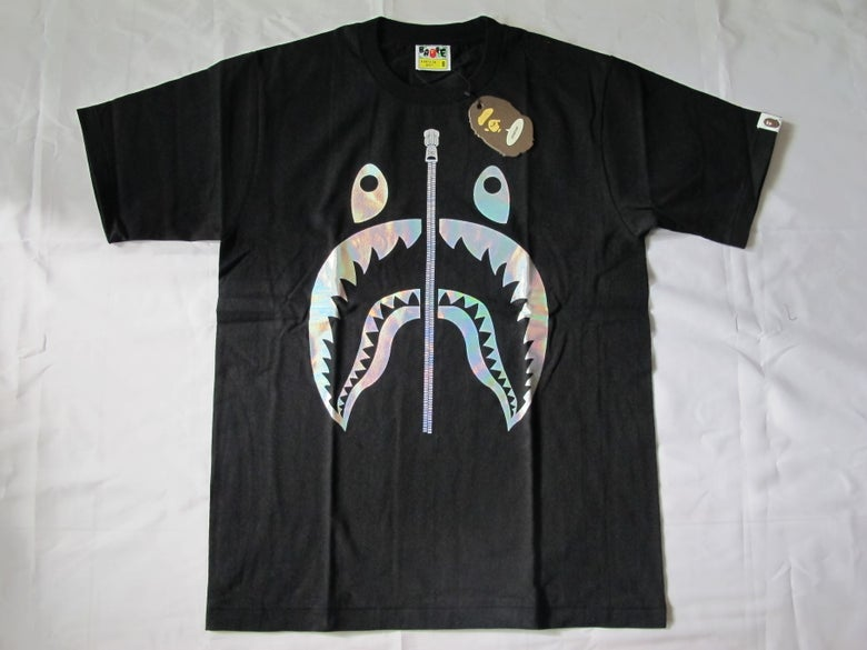 Image of A Bathing Ape (Bape) - Shark Hologram Tee (Black)