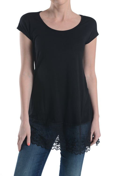 Image of Lace Trim Tee, S-L