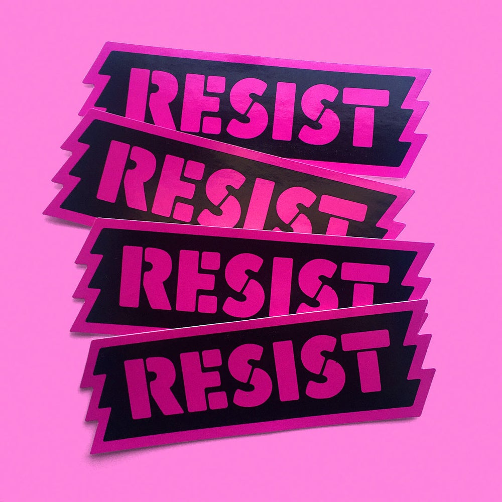 "Image of ""RESIST"" STICKER 5-PACK."
