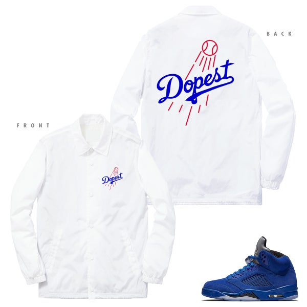 Image of DOPEST DODGERS INSPIRED COACHES JACKET RETRO 5 BLUE SUEDE - WHITE