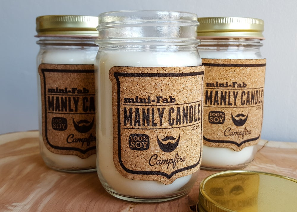 Image of Manly Candle - Sandalwood Scented Natural Soy Man Candle Hand Poured with Cotton Wick