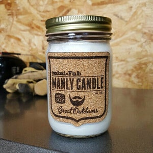 Image of Manly Candle - Leather Scented Natural Soy Man Candle Hand Poured with Cotton Wick