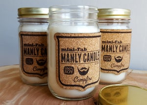 Image of Manly Candle - Pipe Tobacco Scented Natural Soy Man Candle Hand Poured with Cotton Wick