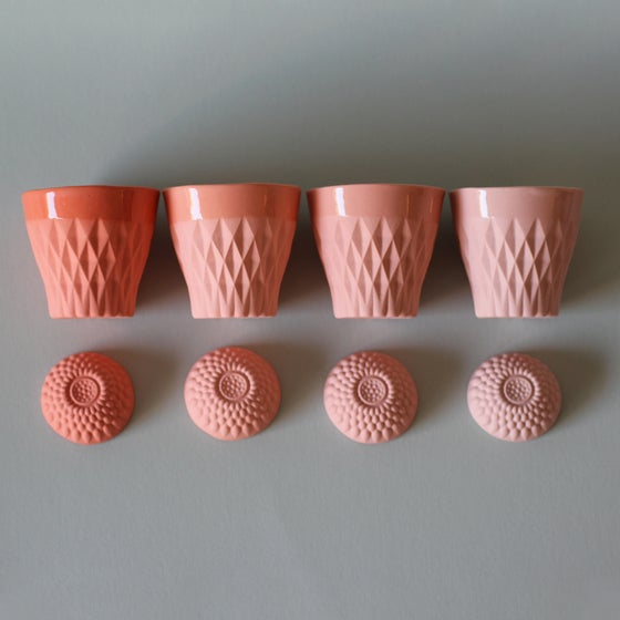 Image of CRYSTAL PALACE porcelain cup X4 Corail Collection