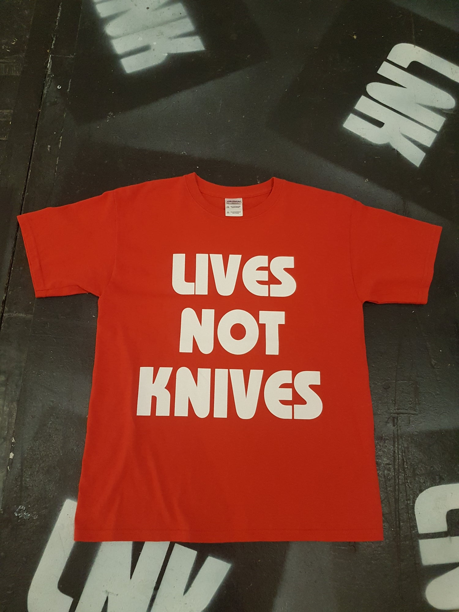 Image of Lives Not Knives - Red/ White