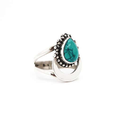 Image of Sterling silver & Turquoise Rising Moon Ring