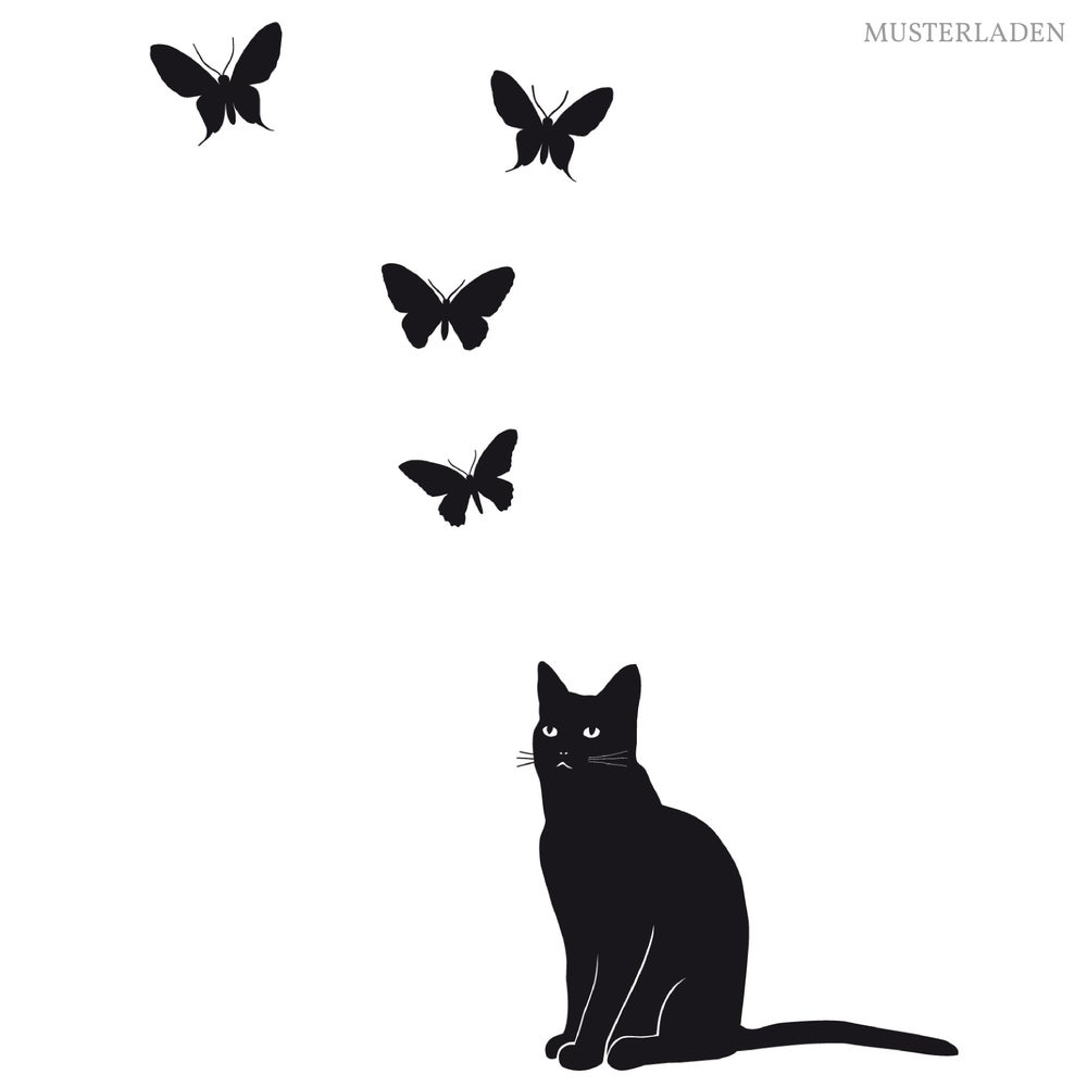 Image of Wandaufkleber Katze Fabi klein und 6 Schmetterlinge