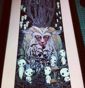 "Image of ""DEER GOD"" 12x24 inch glow in the dark print"