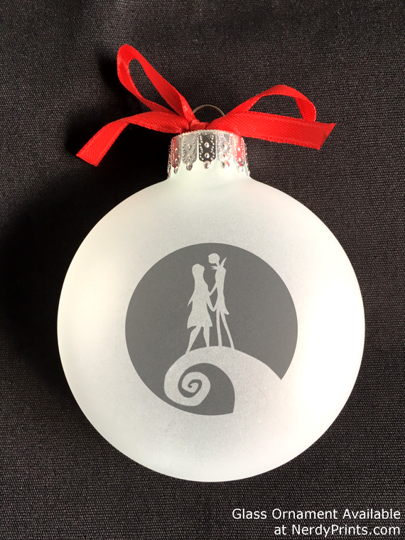 Image of Jack & Sally Glass Christmas Ornament