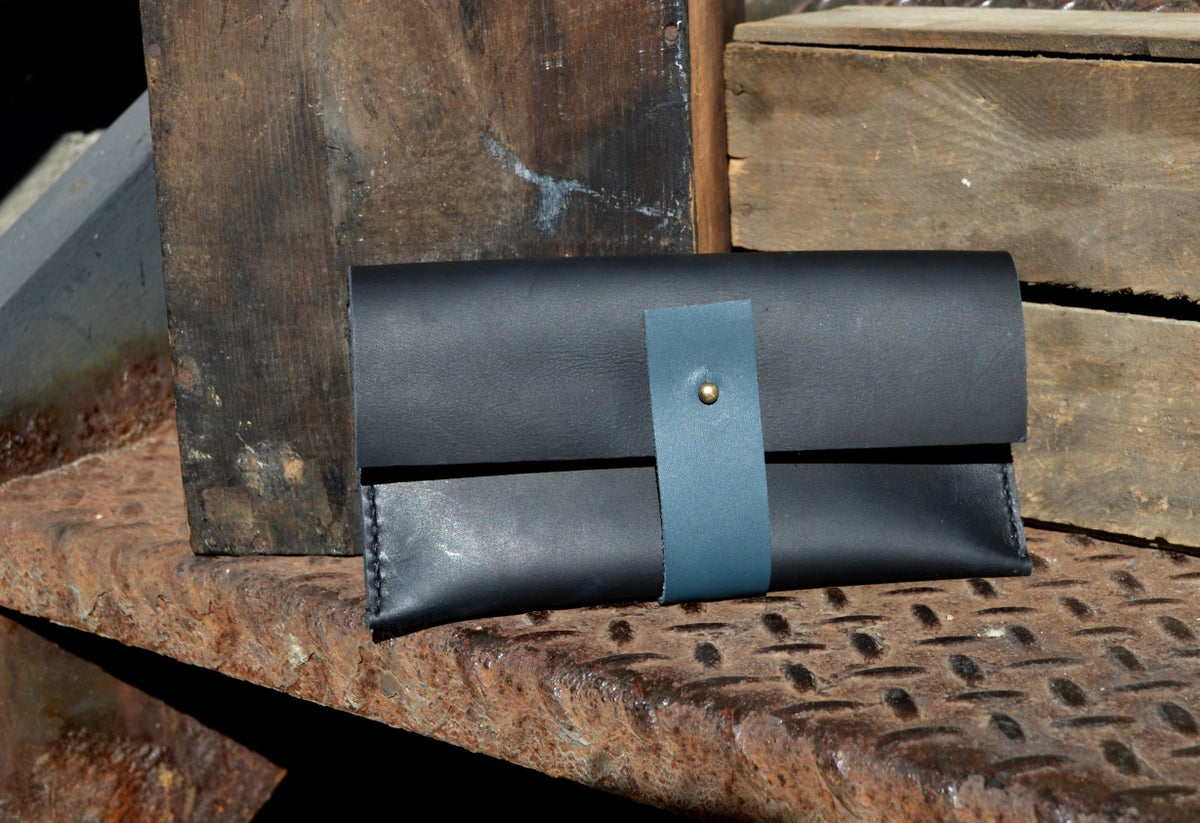 Image of Small Leather snap clutch