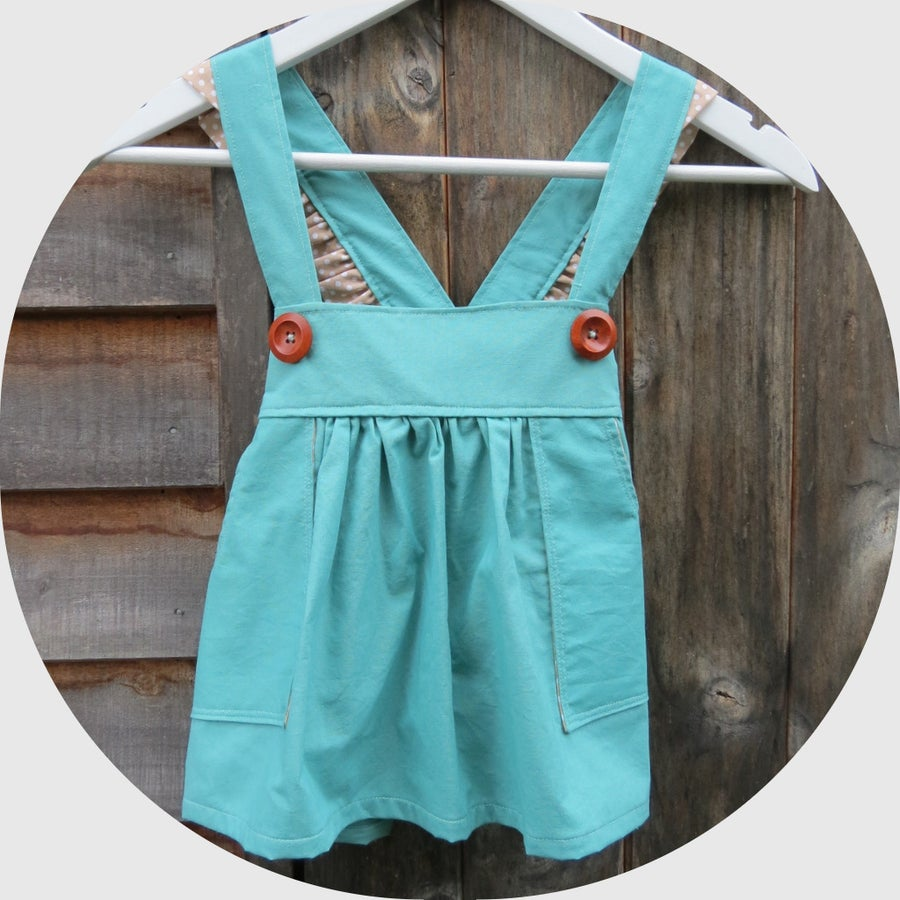 Image of TURQUOISE PINAFORE w/ RUFFLES - 2/3y
