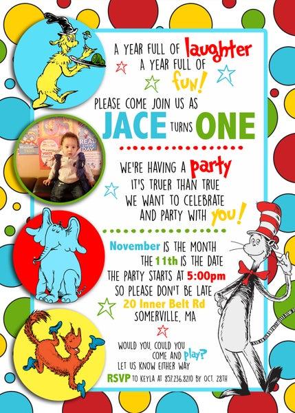 Image of Seuss inspired Birthday Invitations