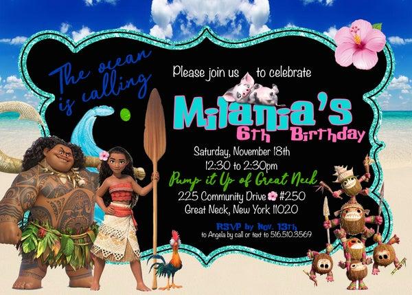 Image of Moana inspired birthday invitations & return address labels