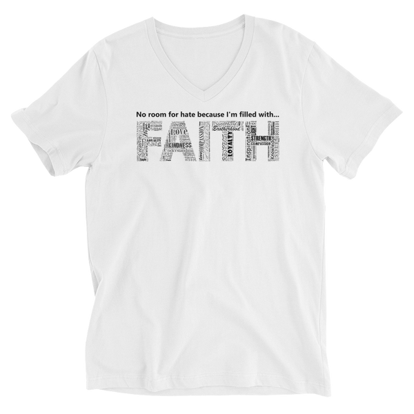 Image of Filled With FAITH Unisex V-Neck Tee in Black or White