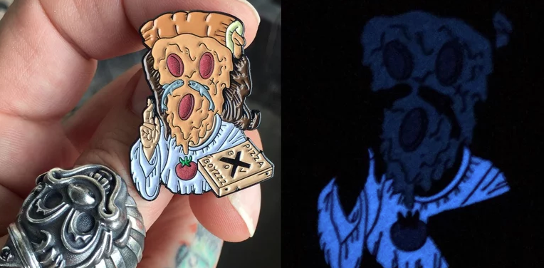 Image of CHEESUS CRUST LAPEL PINS - OR GLOW KEY CHAIN