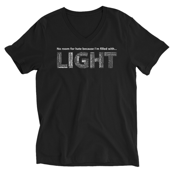 Image of Filled With LIGHT Unisex V-Neck Tee in Black or White