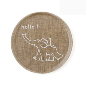 Image of Linen Tray Round Elephant or Dishes - nature