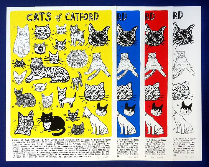 Image of 'Cats of Catford' - Screenprint