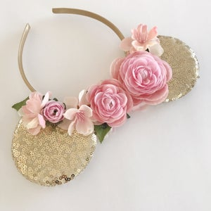Image of Gold sequin ears with blush flowers