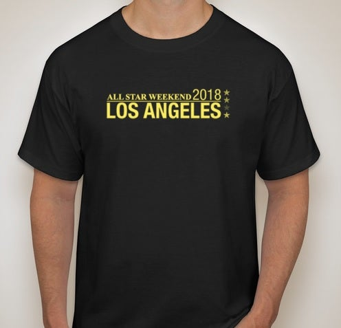 Image of NBA All-Star Weekend 2018 Los Angeles Black T-Shirt with Yellow Logo