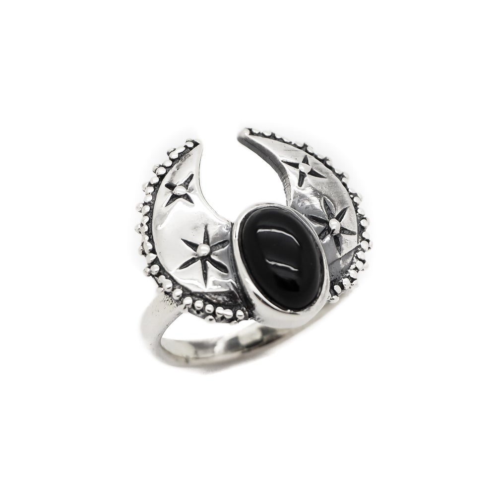 Image of Sterling Silver & Black Onyx Harvest Moon Ring