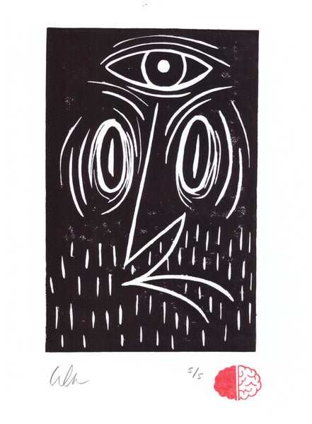 Image of Black Eye. Lino Print.