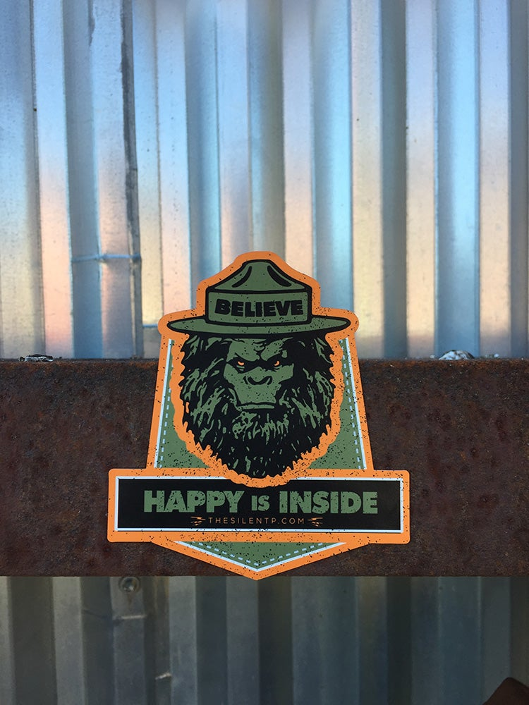 Image of Believe Happy is Inside,  custom die-cut magnet.