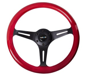 Image of NRG ST-015BK-RD Red Wood Wheel 350MM