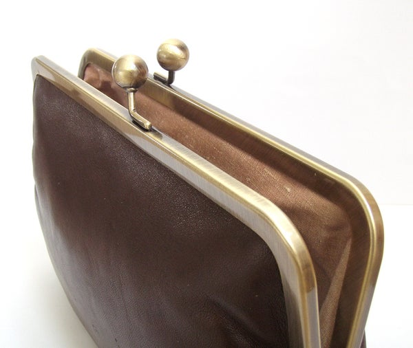 Clutch bag, chestnut brown leather purse, silk-lined, handbag with chain handle - Red Ruby Rose