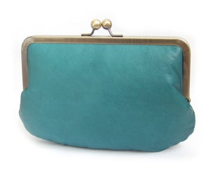 Leather clutch bag, teal blue green leather purse, silk-lined, handbag with chain handle - Red Ruby Rose