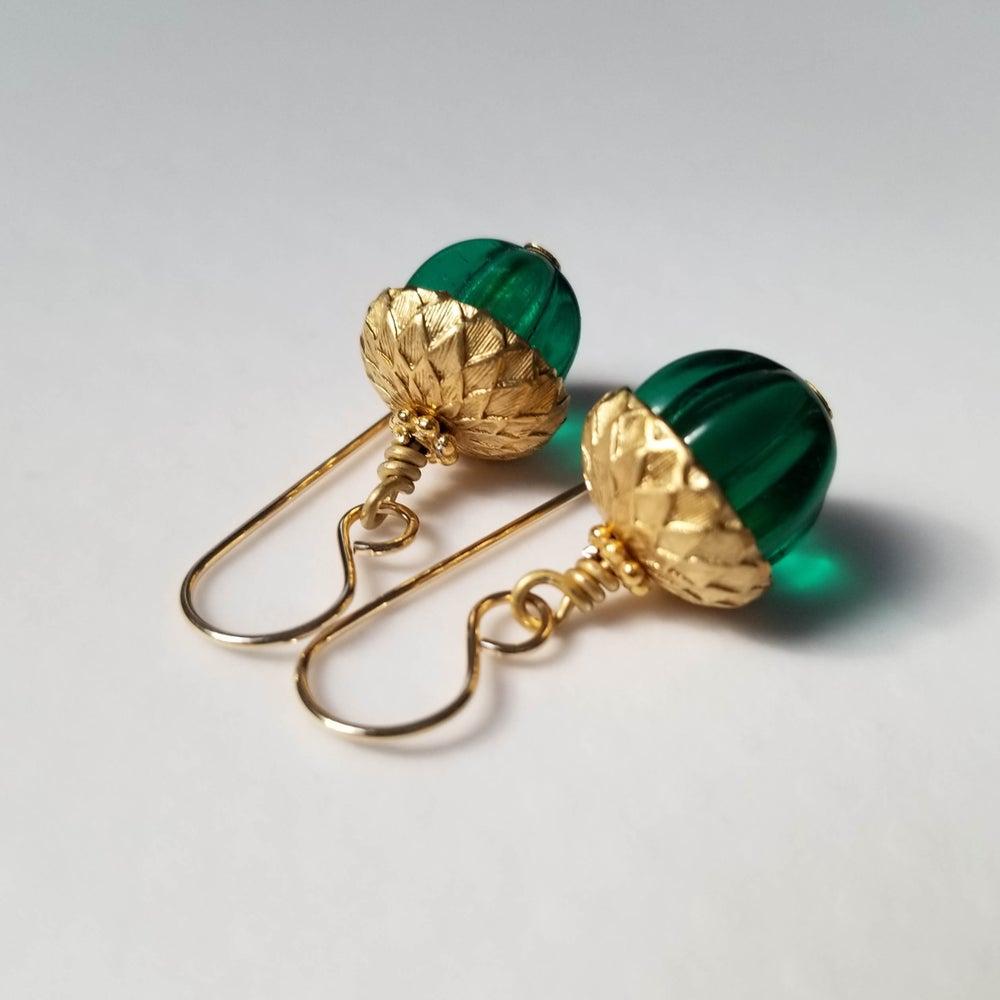 Image of Emerald Acorn Earrings