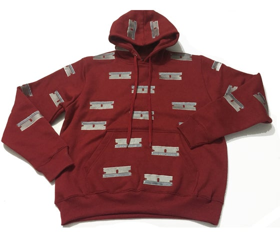 Image of RAZOR EMBROIDERED HOODIE (BURGUNDY)