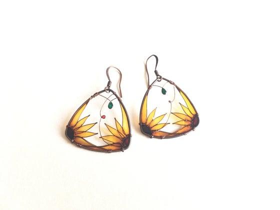 Image of Sunflower Triangle Earrings. Copper earrings