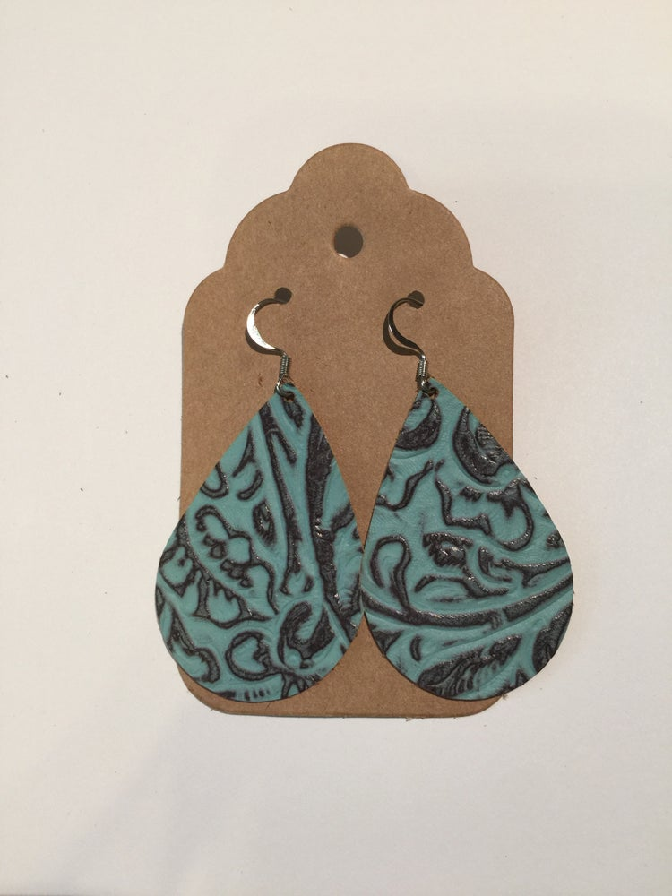 Image of Leather Earrings - Embossed Turquoise