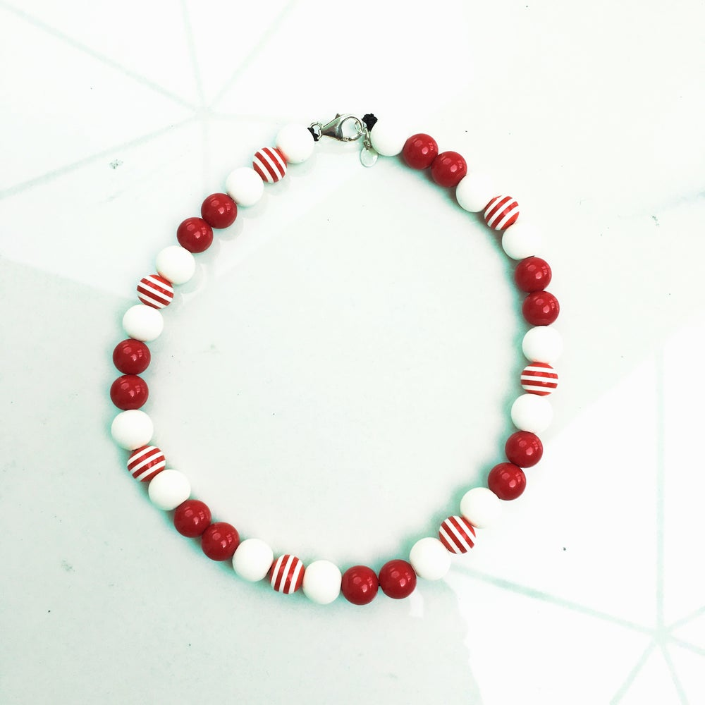 Image of Paris ~ Red, White and Red Striped Beaded Dog Necklace