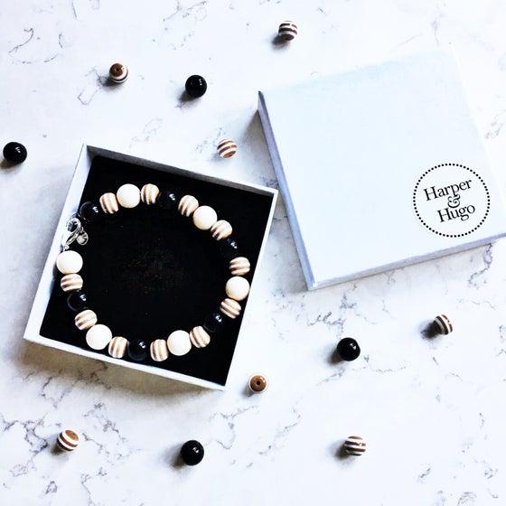 Image of Cookies & Cream ~ Cream, Brown Stripe & Black Beaded Dog Necklace