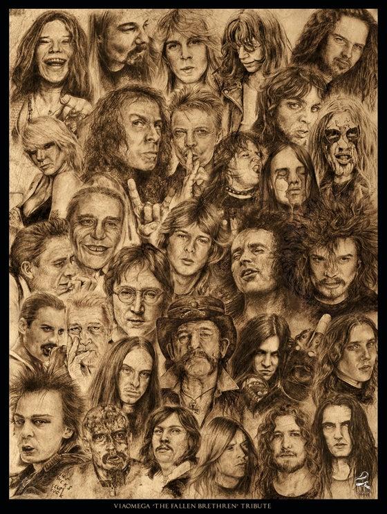 Image of The Fallen Brethren tribute poster # 1 - ViaOmega Magazine issue 7 theme