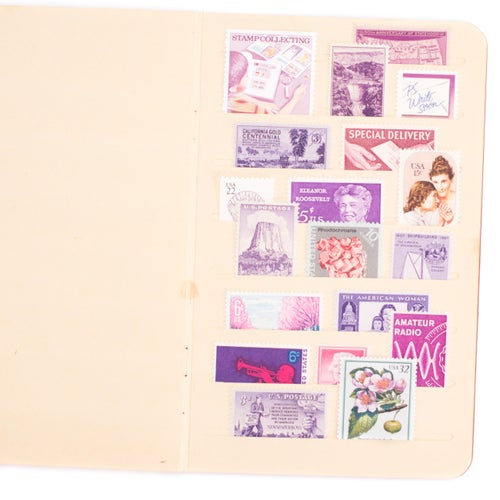 Image of Vintage Stock Book with Unused Postage Stamps