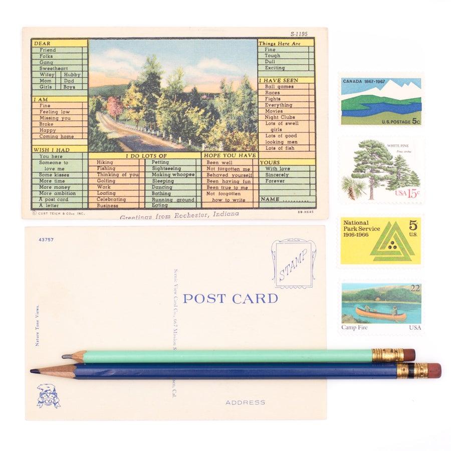 Image of Vintage Postcard Writing Kit - 3 Postcards with Postage