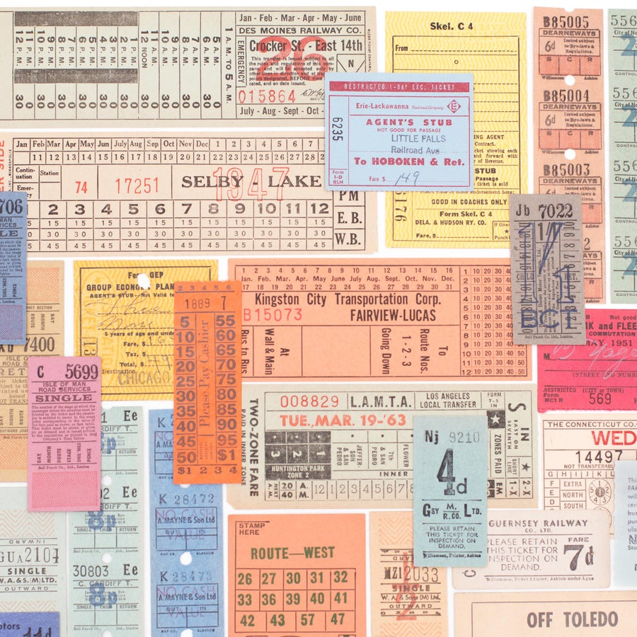 Image of Vintage Transit Tickets - Set of 25