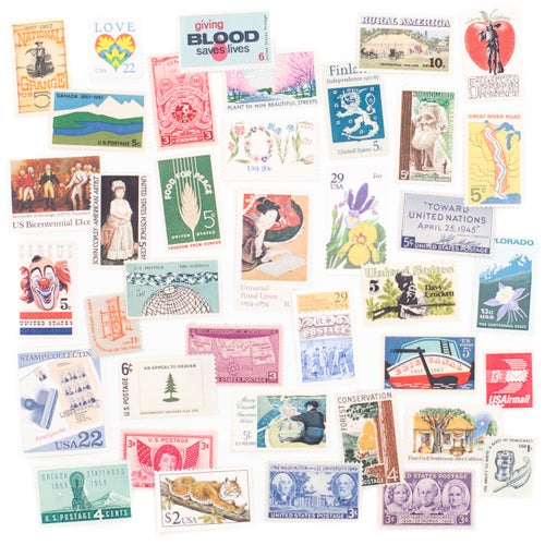 Image of Vintage Unused Postage Stamp Collection in Tin - Extra Large