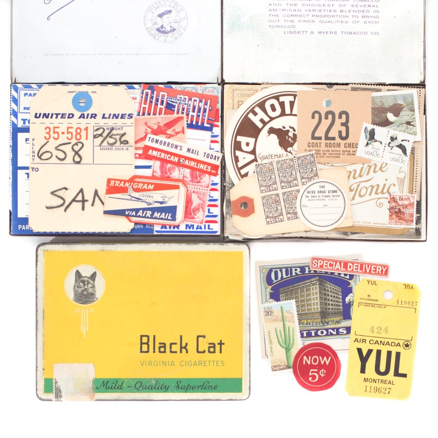 Image of Vintage Cigarette Tins with Ephemera