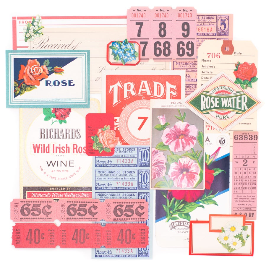 Image of Red, Pink, & Blue Floral Ephemera Collection