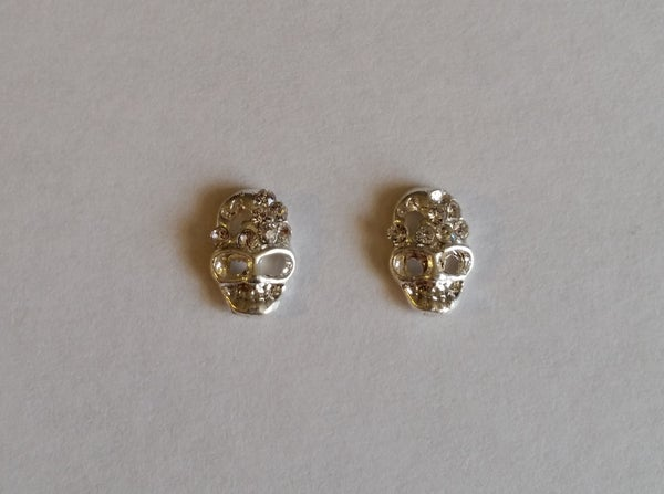 Image of Halloween Crystal Skull Charms (2pcs) SILVER 10X7mm