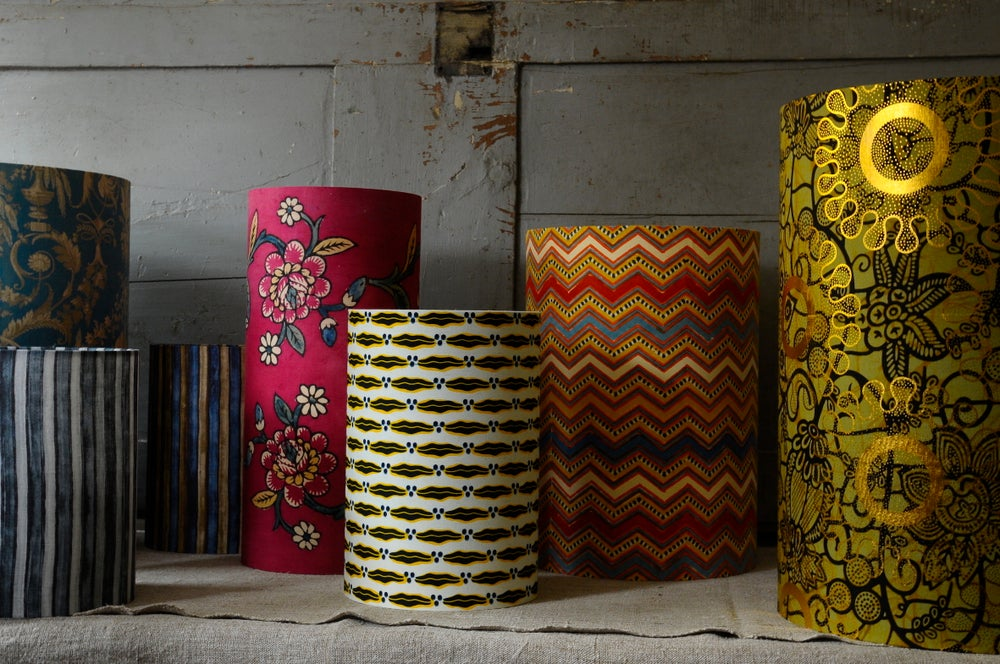 Image of Printed cotton lampshades