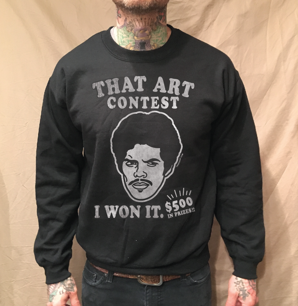 Image of ART CONTEST ON BLACK CREWNECK SWEATER