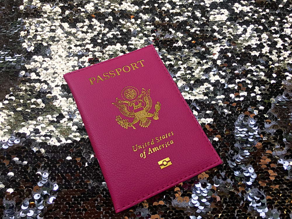 Image of *GLAM GLOBETROTTER* HOT PINK PASSPORT COVER